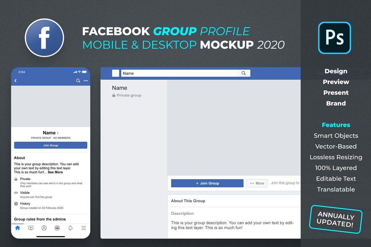 New Facebook Group Profile Mockup Facebook Design Mockup Pinterest For Business