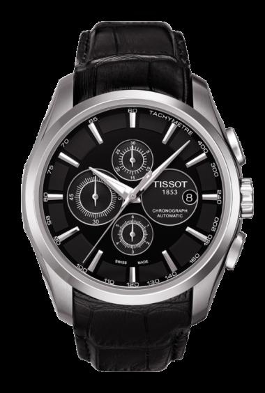 Tissot Couturier Men's Automatic Black Leather Watch