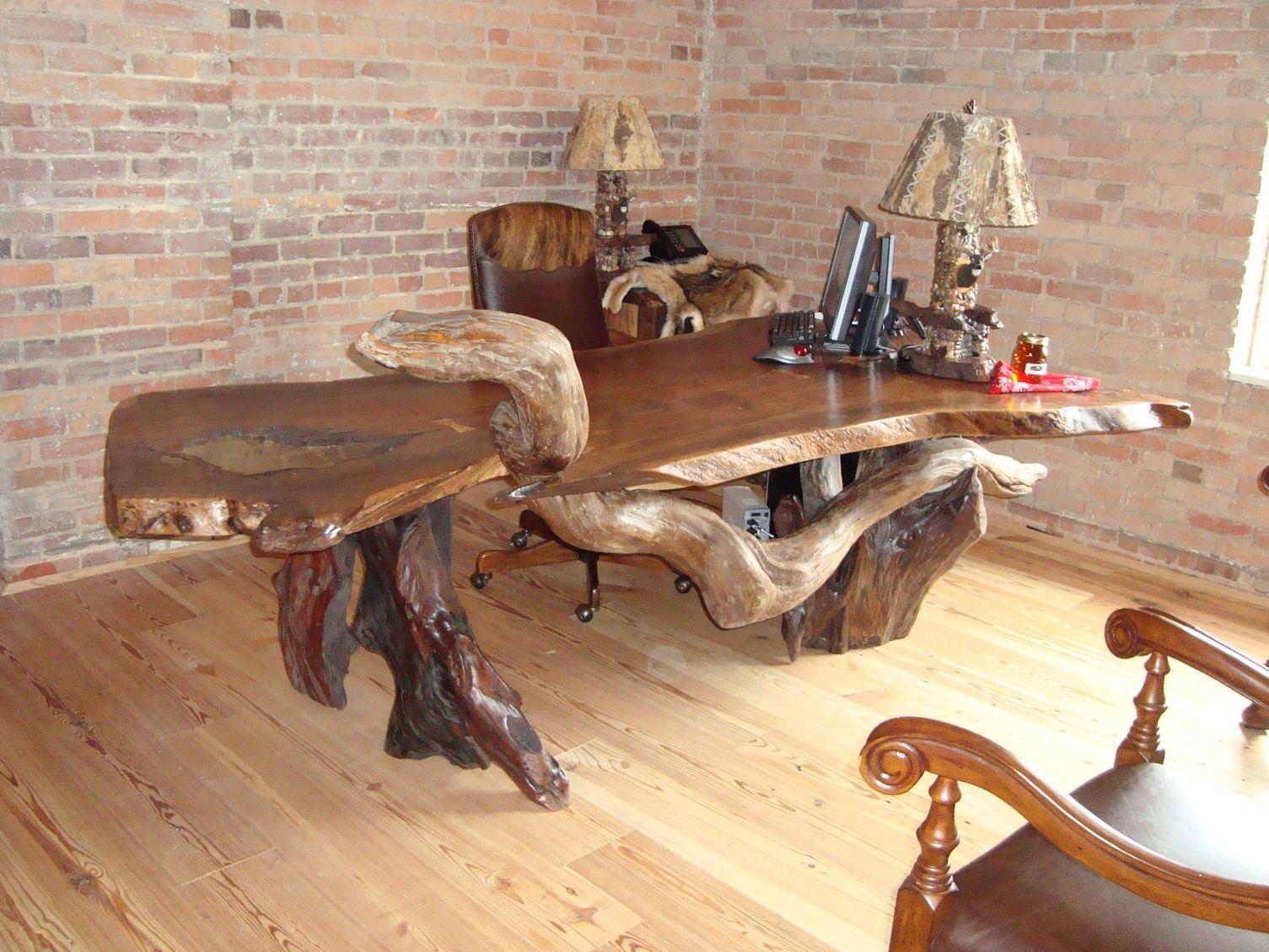 Rustic Desk, Rustic Office, Wood Slab, Wood Desk, Office Desk