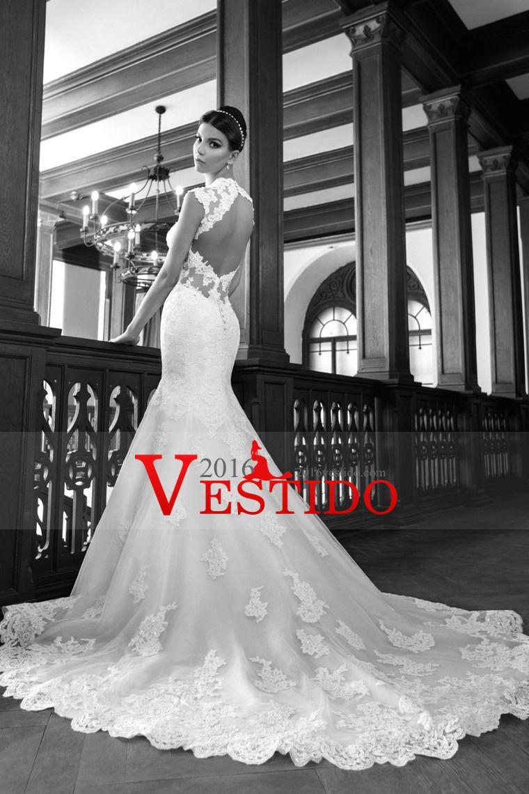 Vestidos 2016 de la sirena / trompeta de novia con apliques Y Granos espalda abierta