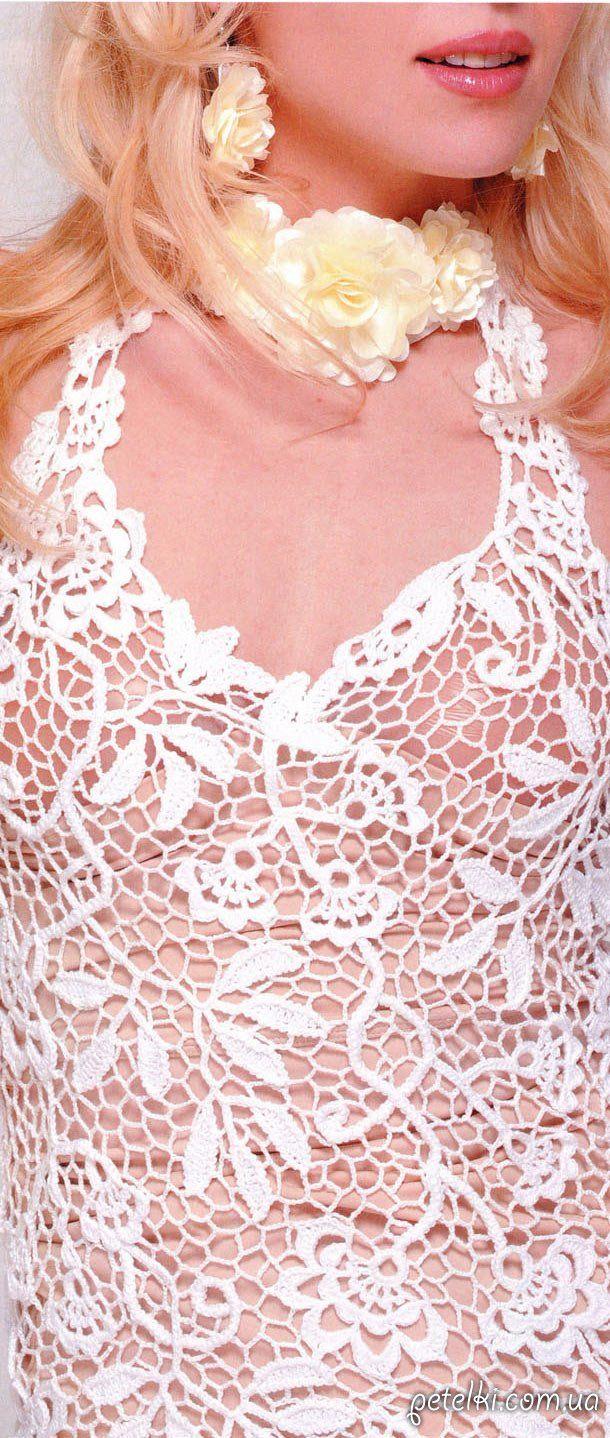 Белое платье крючком в технике сцепного гипюра. Описание, схема ...