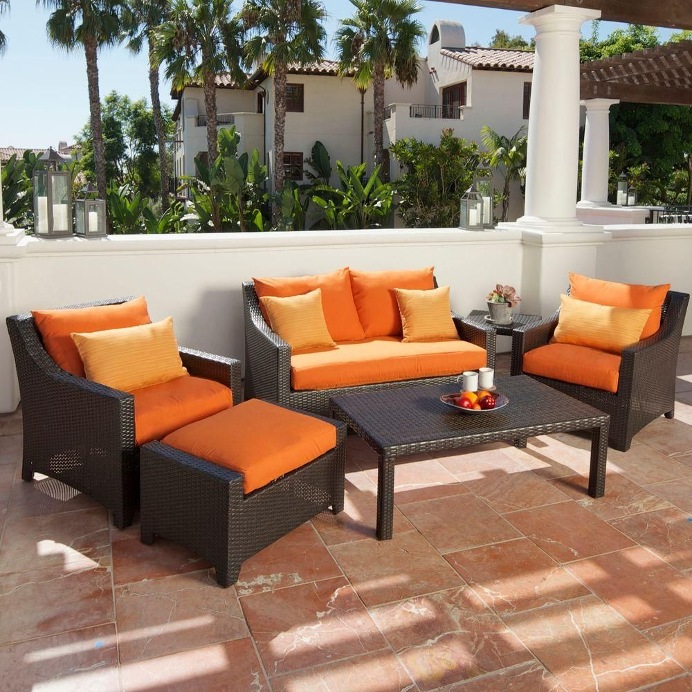 Rst Brands Deco 6 Piece Patio Seating Set With Tikka Orange Cushions