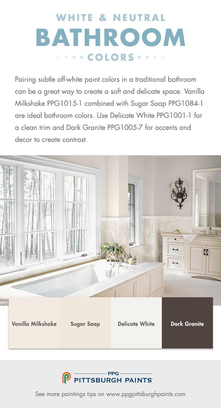 White Neutral Bathroom Paint Colors From Ppg Pittsburgh Paints Pairing Subtle Off White Paint Co Best Bathroom Colors Bathroom Colors Bathroom Paint Colors