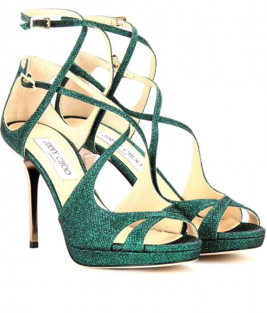 Emerald Green Misty Glitter Sandals