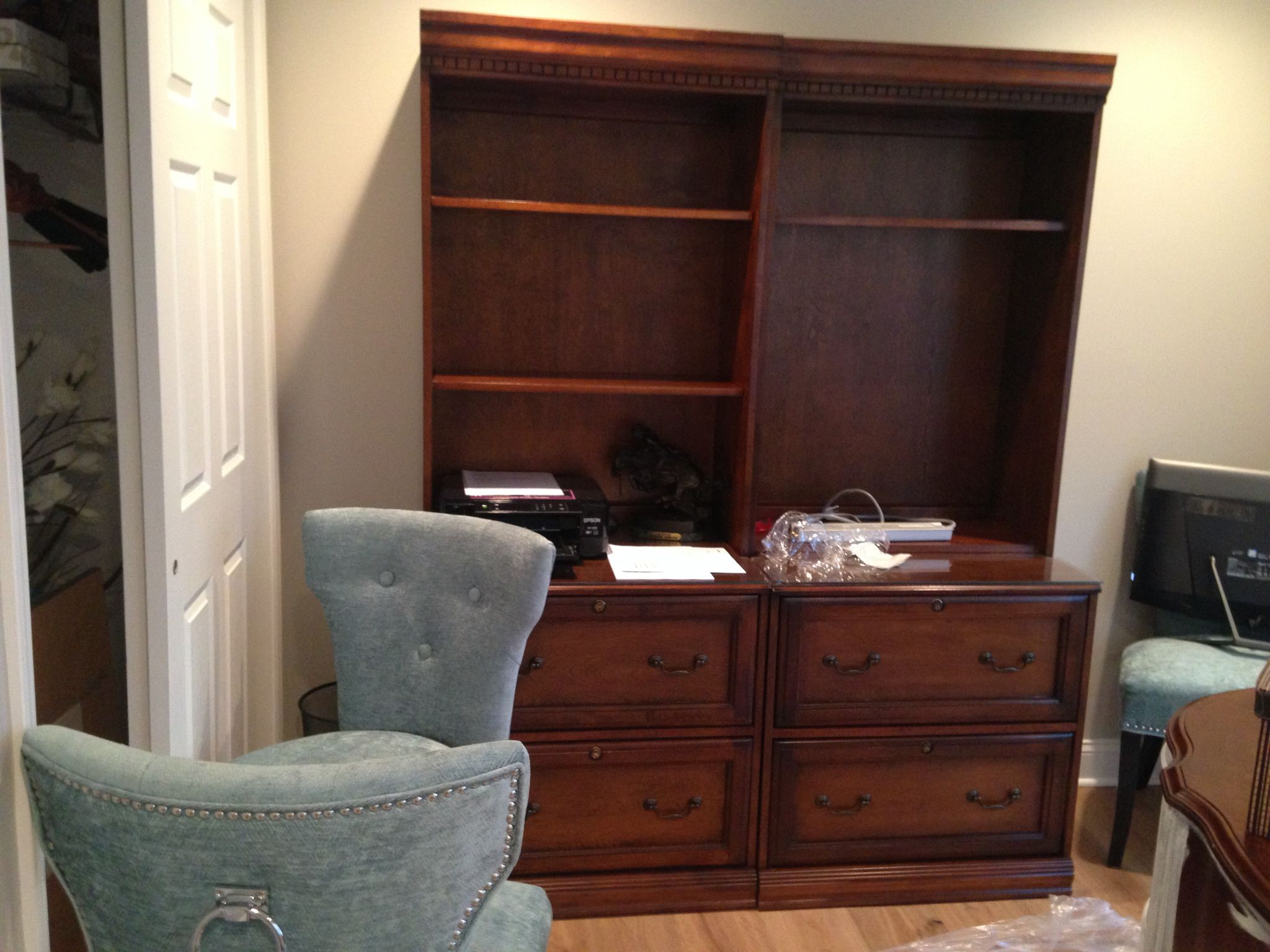 Book cases before chalk paint