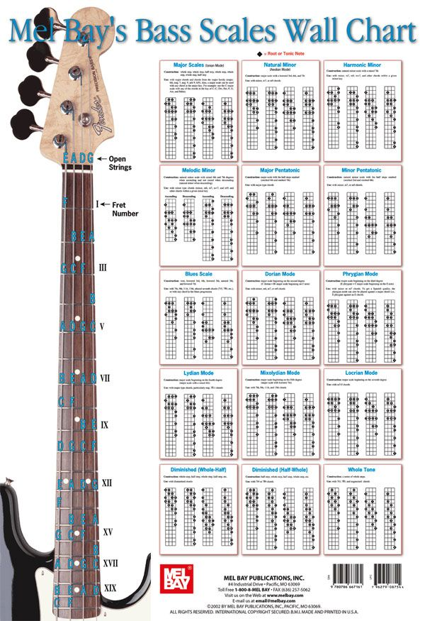 Bass Scales Wall Chart Bass Guitar Sheet Music Bass, Scale and - guitar chord chart