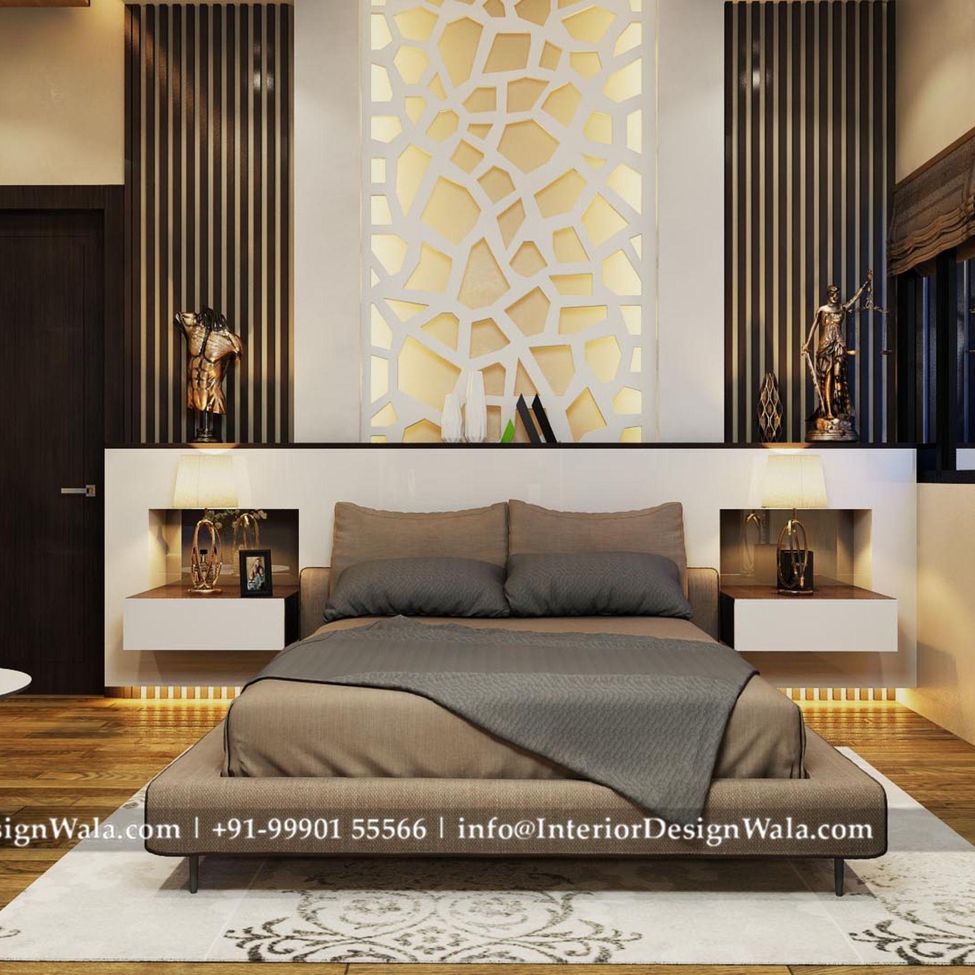 Modern Master Bedroom Interior Design And Back Paneling Designed