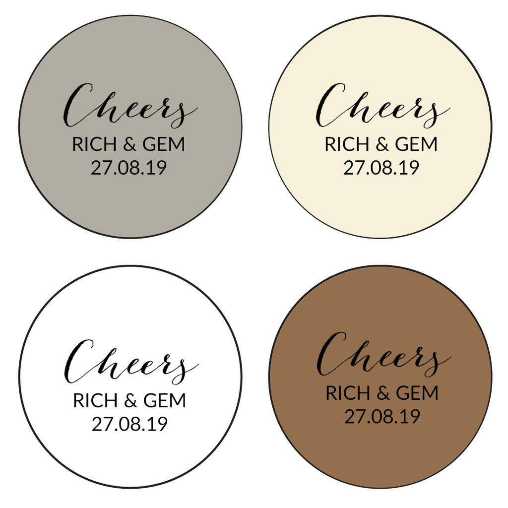 Round Wedding Favour Stickers Cheers x 24 | Personalized wedding ...