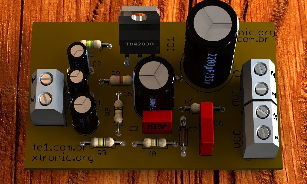 Circuito De Amplificador Udio Com Ci Tda2030 14w Projetos Esse Muito Interessante Ele Usa Um Regulador Lm317 Que