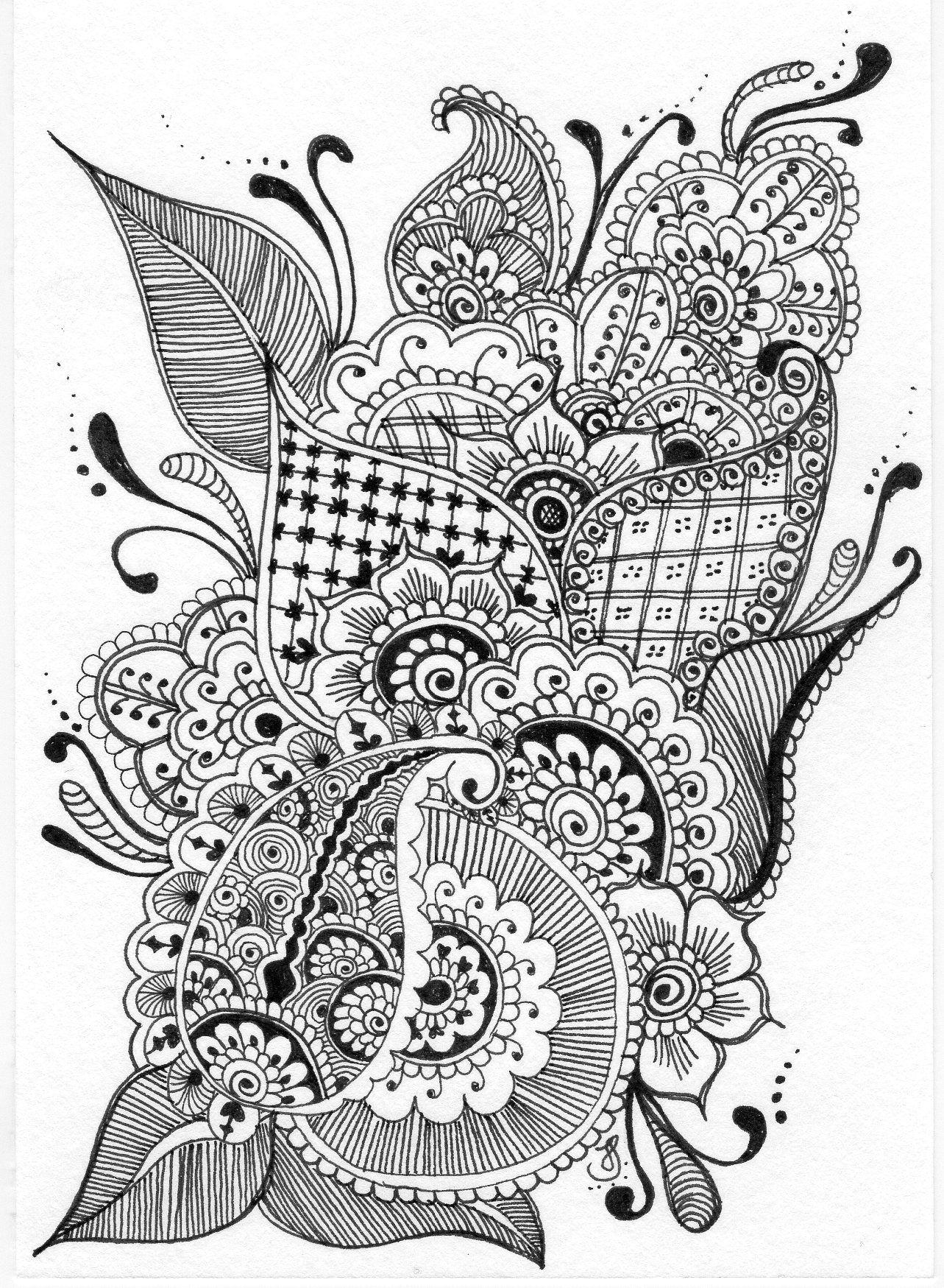 Some Mehndi inspired Zendoodle | Zentangle drawings ...