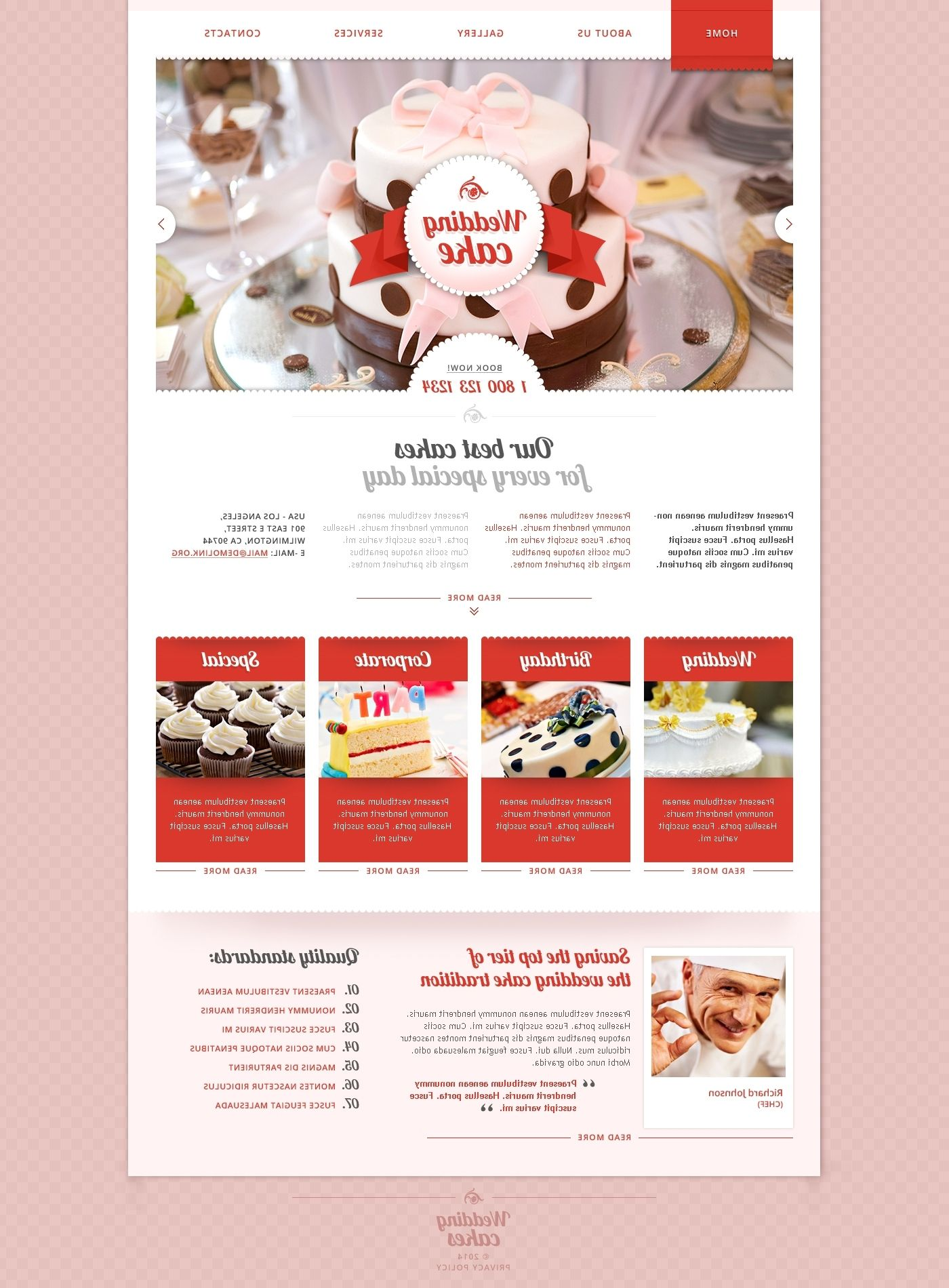 Wedding Cake Responsive Website Template Free Download Wedding