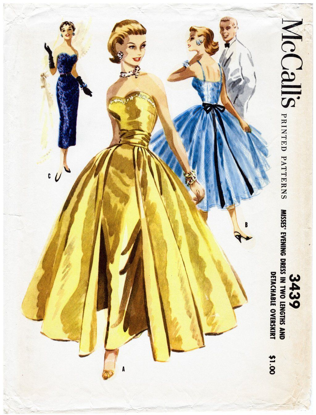 McCall 3439 1950s ball gown vintage sewing pattern | Wedding Dress ...