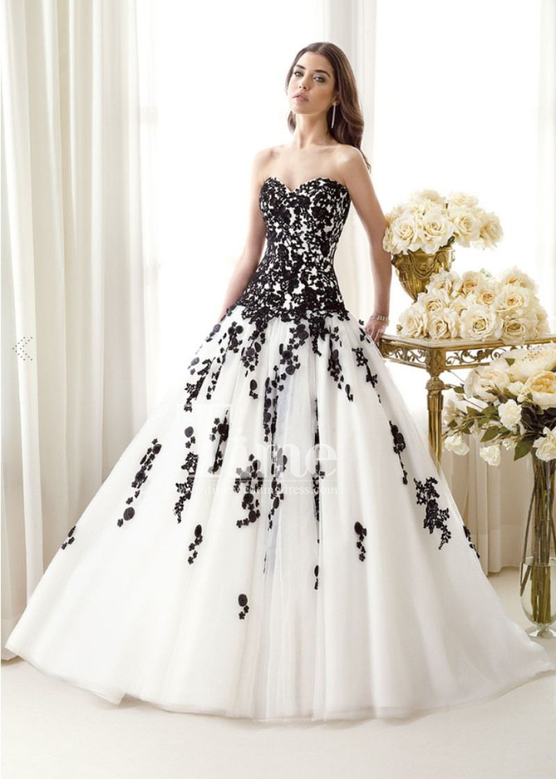 Tulle ball gown sweetheart black and white wedding dresses for Black designer wedding dresses