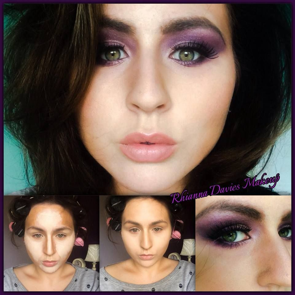 Purple Smokey Eye And Contouring For Heart Shaped Face Make Up