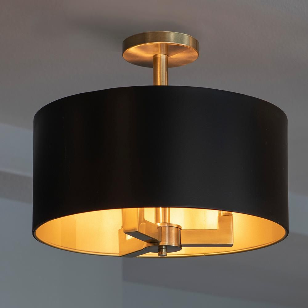 Dsi Hamilton Collection 3 Light Black And Gold Semi Flush Mount 17860 The H Ceiling Mount Light Fixtures Semi Flush Ceiling Lights Light Fixtures Flush Mount
