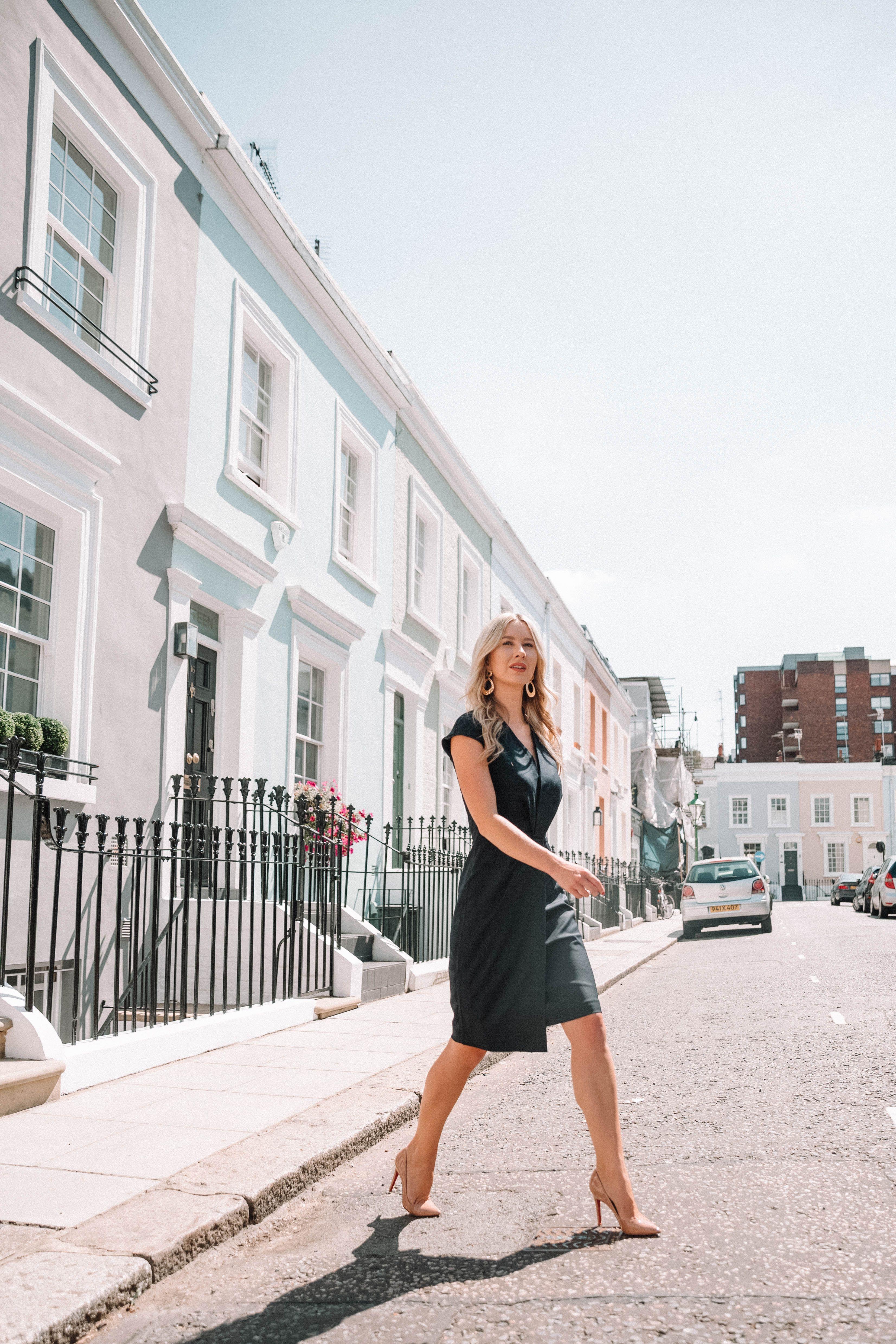 6368402c9e she goes wear reiss navy fenton tailored dress blue pencil dress london  workwear office style officewear fashion blogger steve madden nude heels ...