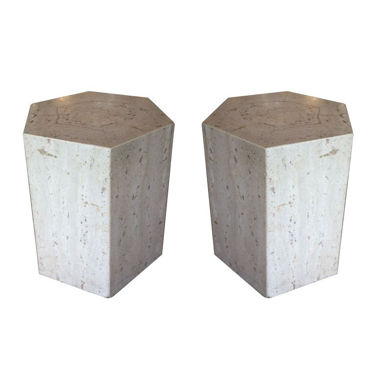 Pair Travertine Marble Pedestals End Tables | From A Unique Collection Of  Antique And Modern End