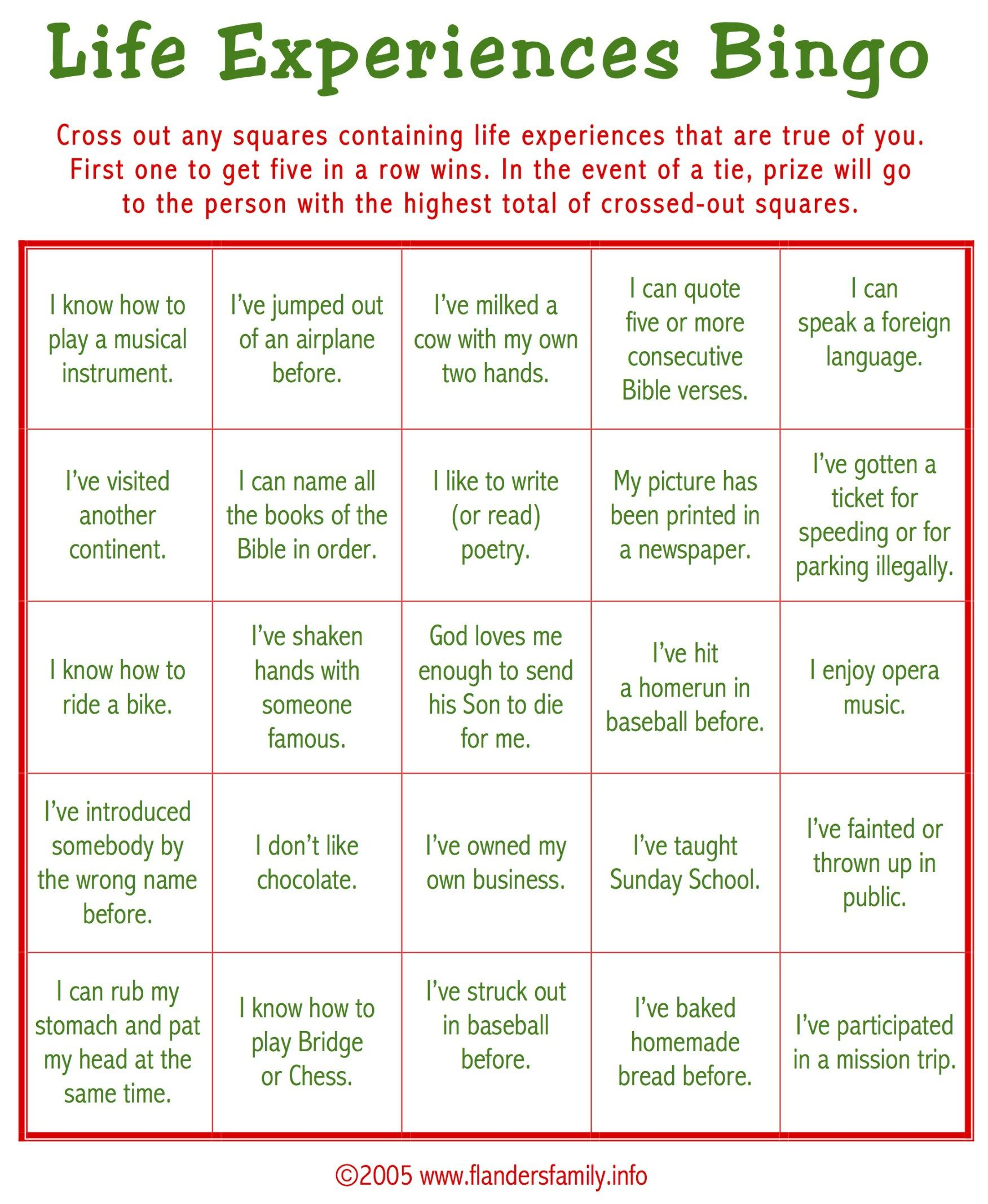 Todays Game Is Life Experiences Bingo This Makes A Great