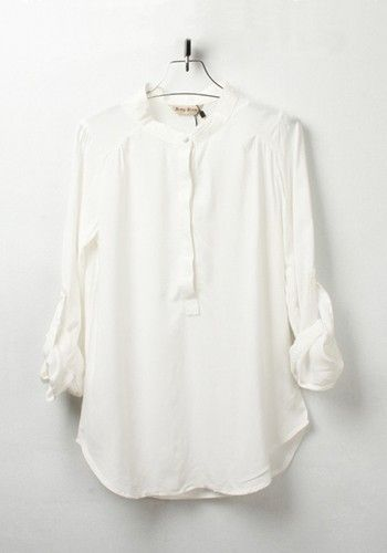 4cf617af362a8 ++ White Plain Round Neck Sevens Sleeve Chiffon Blouse