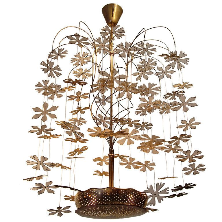 """Paavo Tynell (Finish 1890-1973) Large """"Snowflake"""" Chandelier 