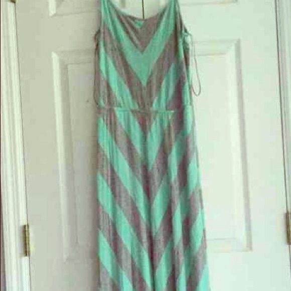 Olive & Oak mint & grey striped maxi Olive & Oak Maxi dress in mint & grey stripes floor length, spaghetti straps, cotton/poly very soft, excellent condition worn once it's a small I wear XS so too long Olive & Oak Dresses Maxi