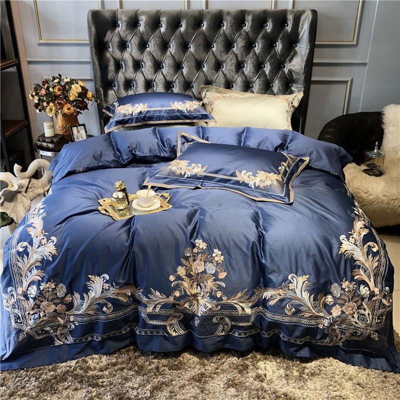 مجموعات الفراش رخيص اشتري مباشرة من المورد بالصين جديد الأزرق الشمبانيا الفاخرة الذهب الملكي التطريز Duvet Bedding Sets Blue Bedding Sets Luxury Bedding Set