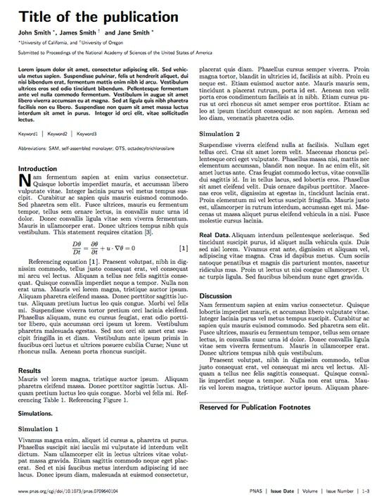 Pnas Journal Latex Template  Projekty Do Wyprbowania
