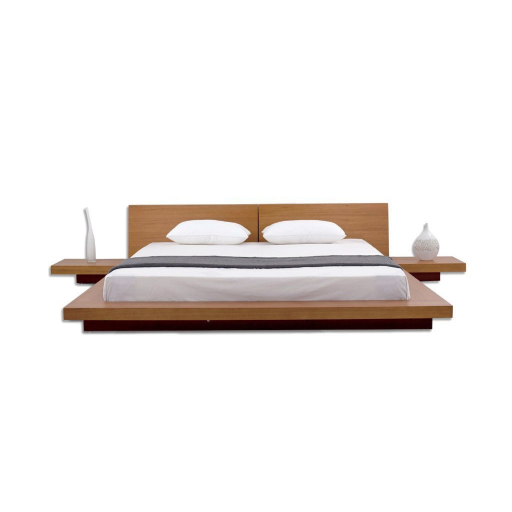 King Size Modern Japanese Style Platform Bed With Headboard And 2 Nightstands In Oak King Size