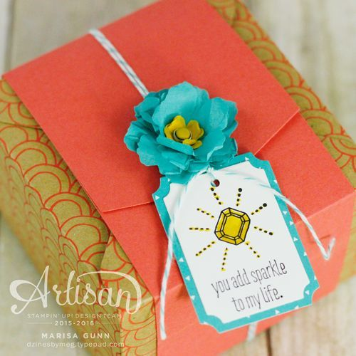 A Bevy of Boxes using the Gift Box Punch Board, Shine On Specialty paper, Botanical Builders dies and the Sparkle and Shine stamp set from Stampin' Up by Marisa Gunn.