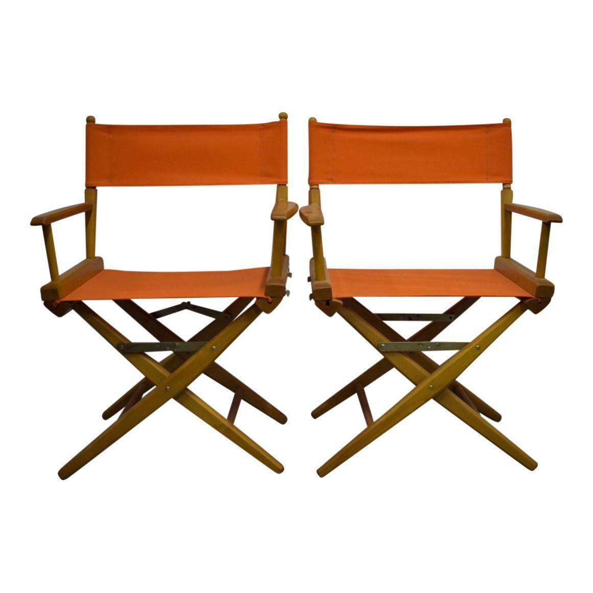 Hermes Orange Canvas Director S Chairs A Pair Lofts # Penguin Lodge Muebles