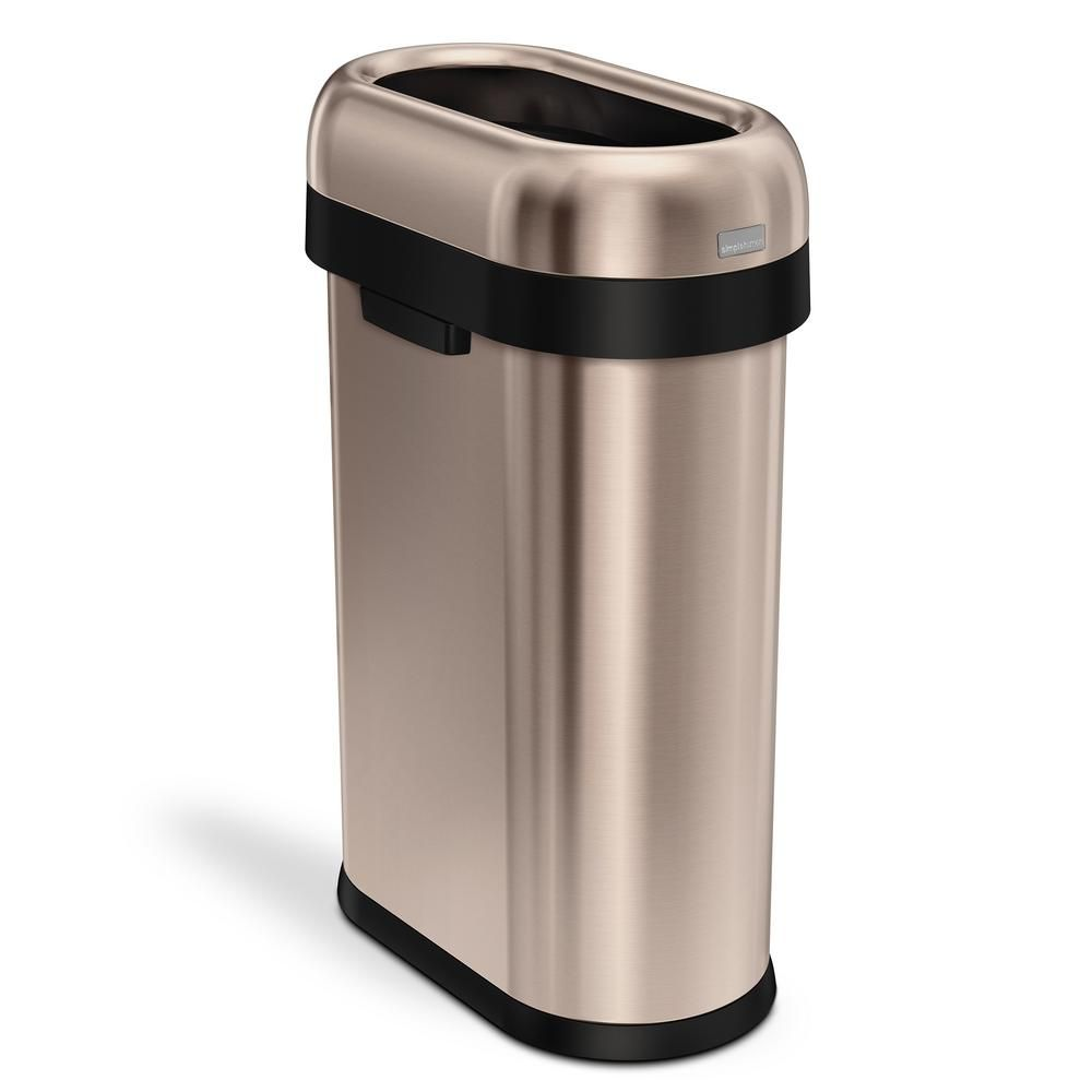 Simplehuman 50 Liter 13 Gal Rose Gold Heavy Gauge Stainless Steel Slim Open Top Commercial Trash Can Cw1482 The Home Depot Simplehuman Trash Can Brushed Stainless Steel Simple human trash can 13 gallon