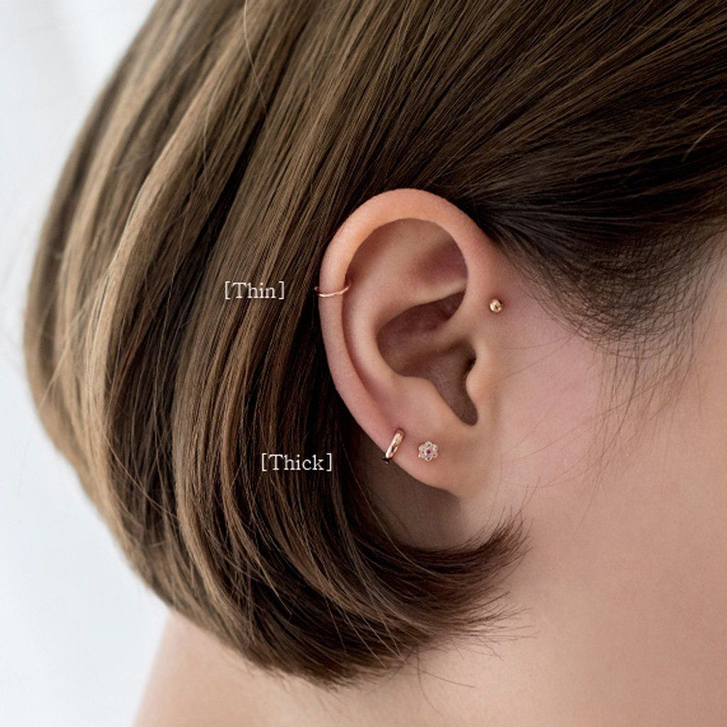 Simple cartilage hoop earring silver Tragus helix piercing 5mm 7mm 10mm 12mm