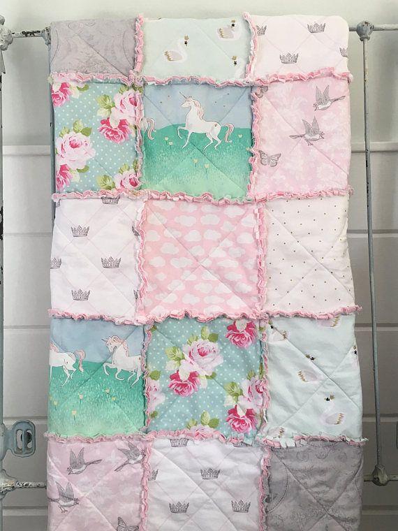 Crib Rag Quilt Baby Girl Crib Bedding Shabby Chic Paris Nursery ...
