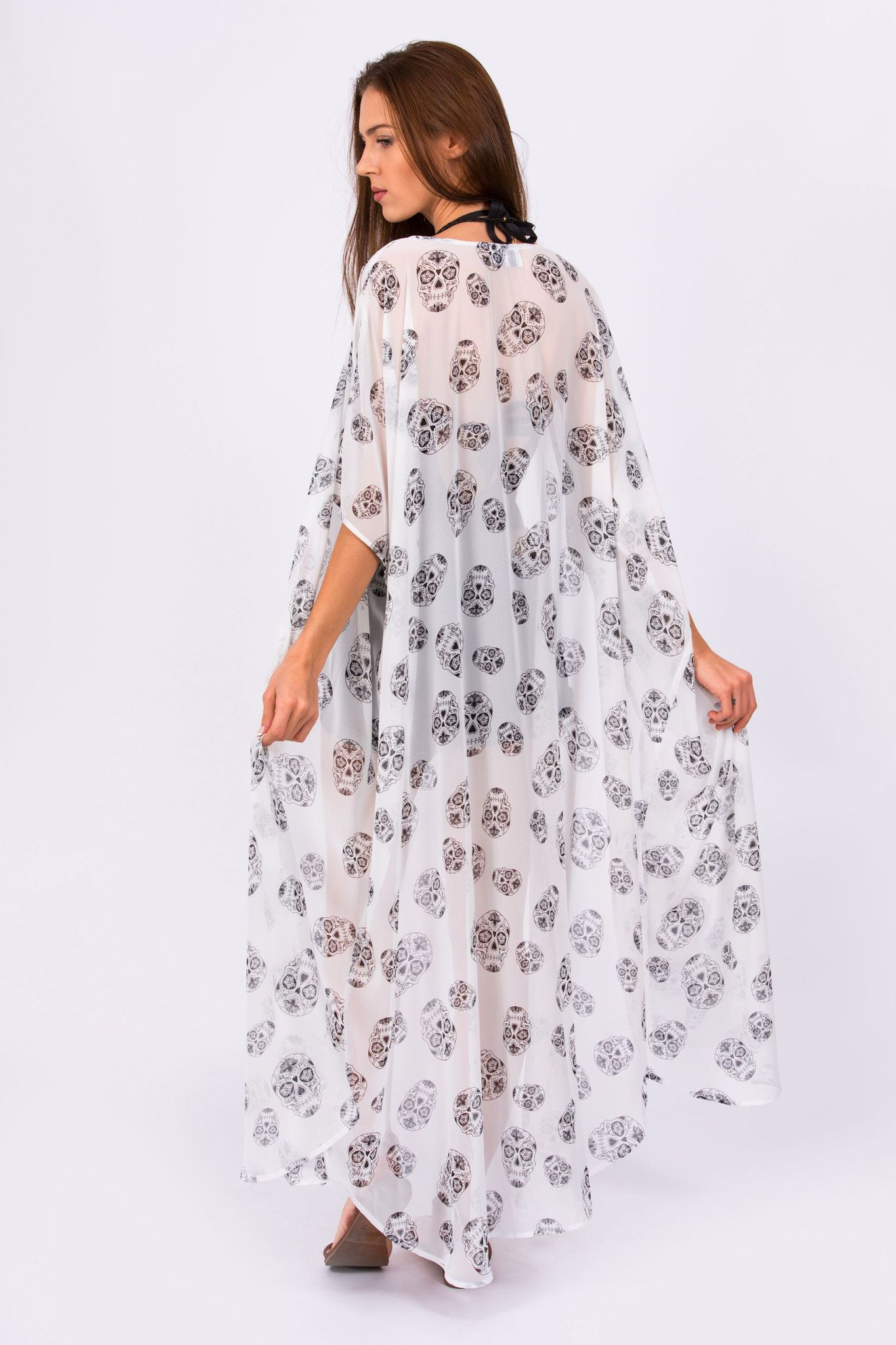 c2a1a24269364 White & Black Chiffon Kimono with Skull Print- Available in Short, Mid and  Full Length