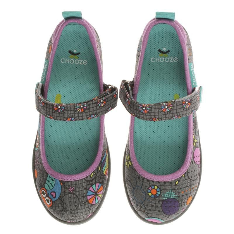 Chooze: Jump Gaze (Grey/Lilac) More to show off from Chooze! The Chooze Jump Gaze in Grey is a great slip on mary jane for girls who love to mix it up. This comfy  canvas shoe features multi colored circles that correspond with patterns of adorable hoot owls plus an easy hook and loop strap closure that she will love showing off. Look for the matching backpack!