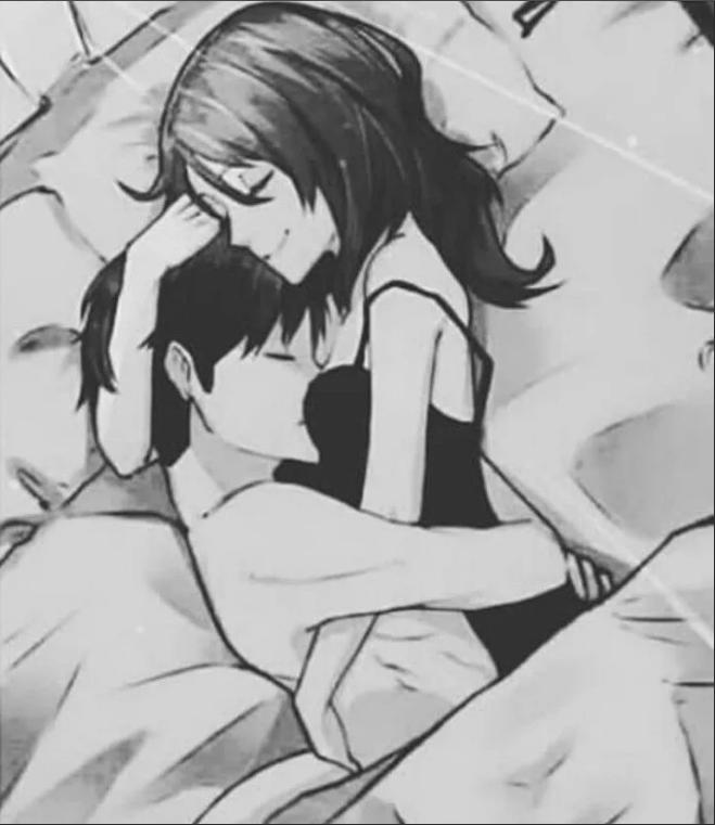 Аниме картинка девушка лежит на парне
