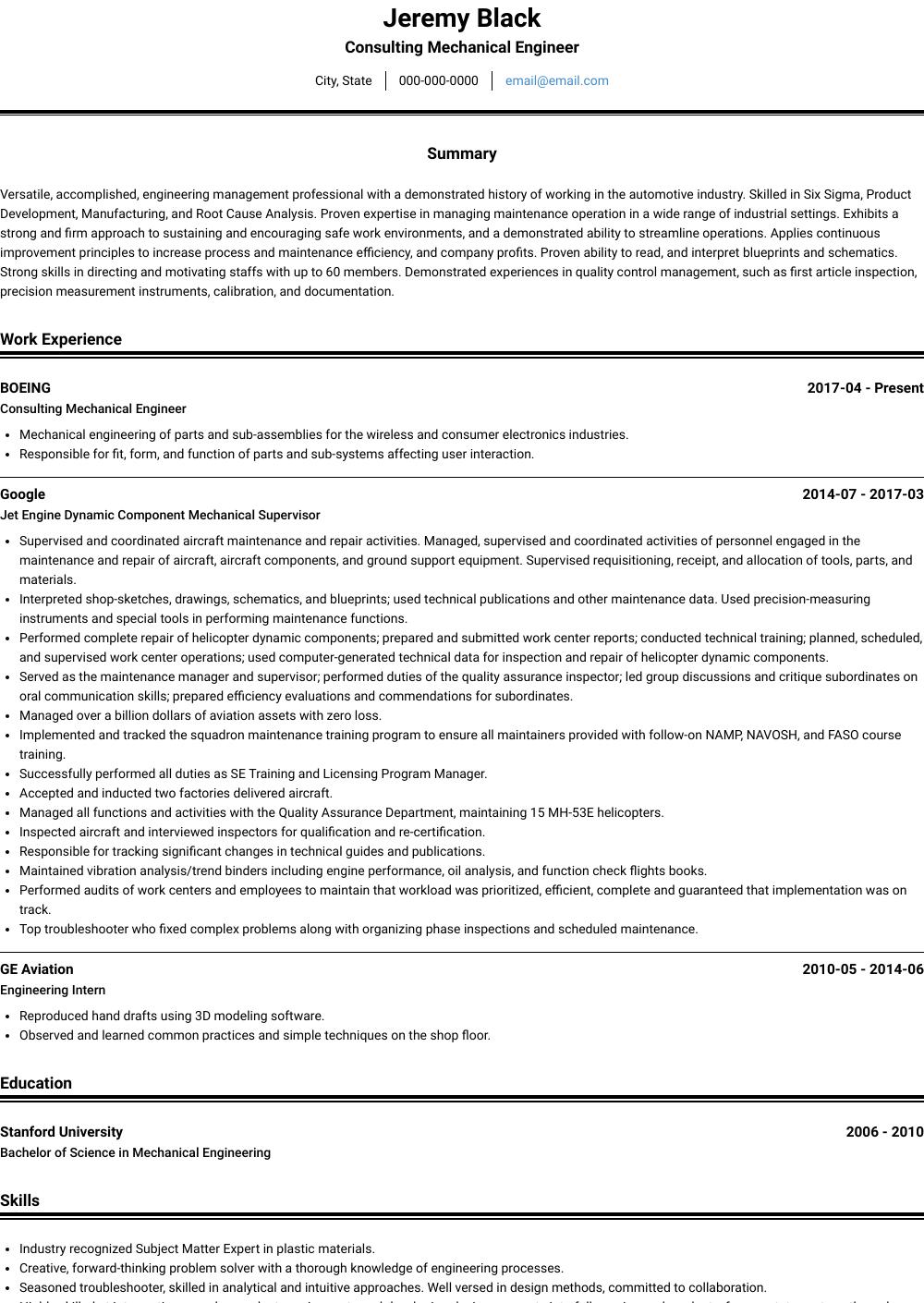 Mechanical Engineer Resume Samples & Templates