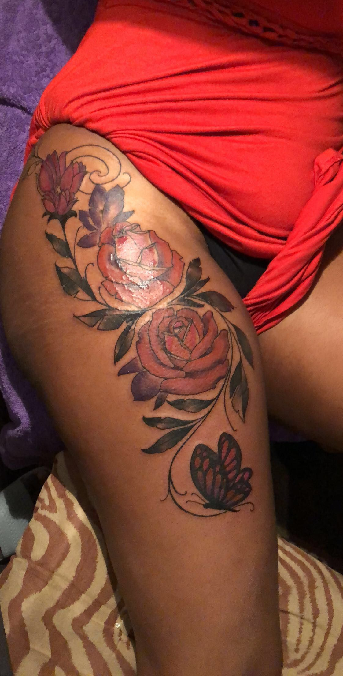 Floral thigh tattoo by chowderluciano on instagram