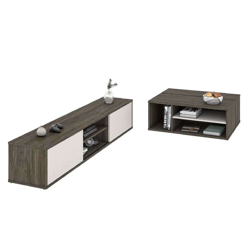 Fom 2 Pc Tv Stand Coffee Table Set In Walnut Grey Sandstone Bestar 22850 000035 Tv Stand Coffee Table Tv
