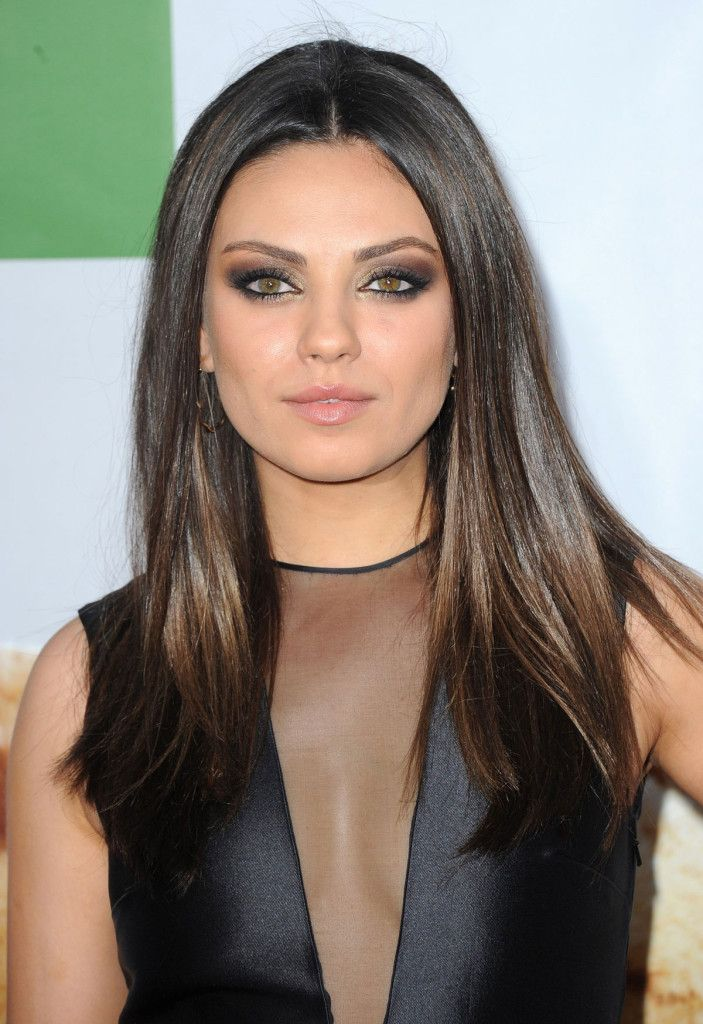 Mila Kunis Types Of Brown Hair Hairstyles For Round Faces Glossy Hair