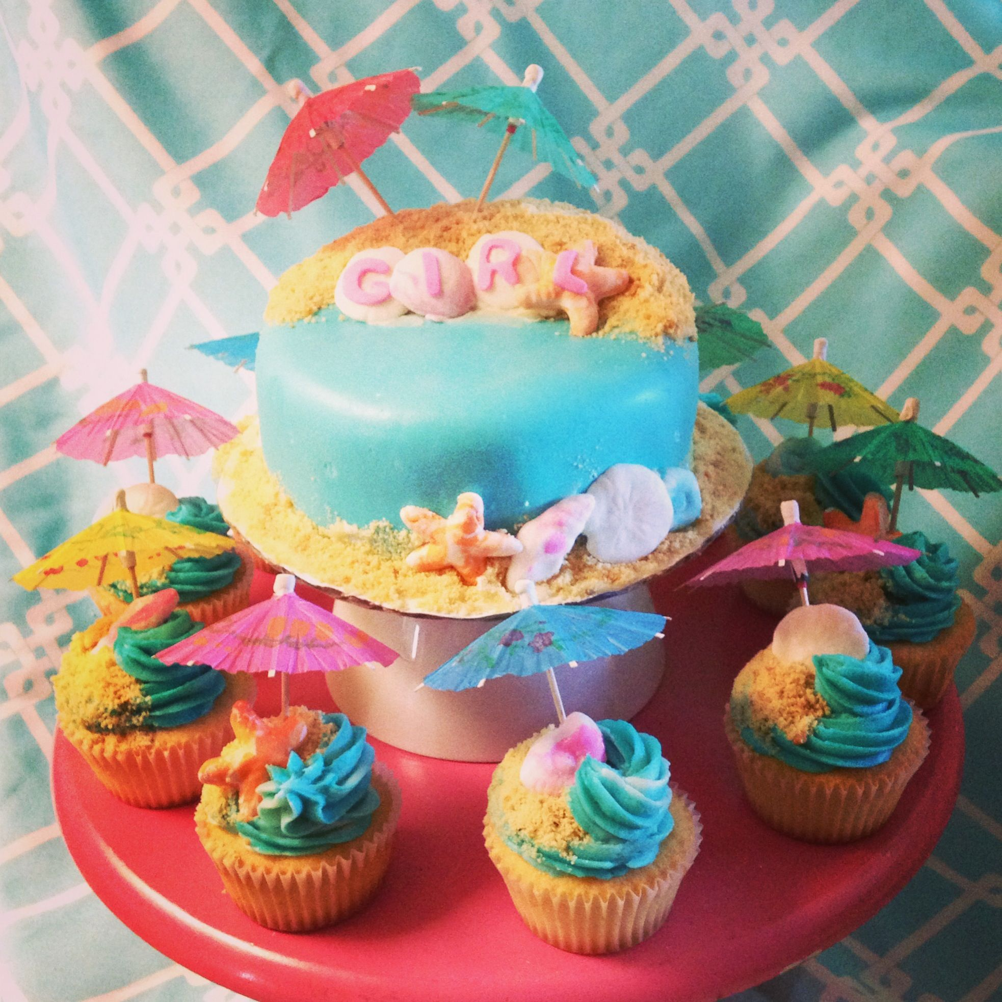 Beach Party Baby Shower Fondant Cake And Cupcakes