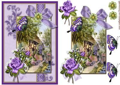 English Cottage in purple on Craftsuprint designed by Marijke Kok - Beautiful design for any occasion, with a cottage,flowers,roses,a bow, butterfly and brads. - Now available for download!