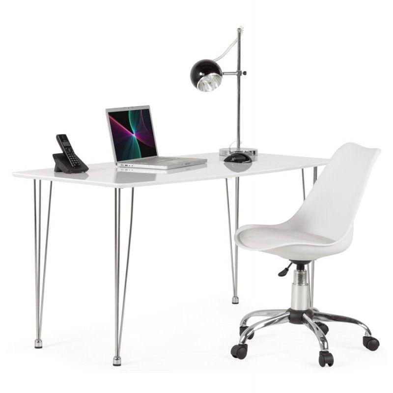 Chaise De Bureau Design Paul En Polyurethane Et Metal Chrome Blanc Chaise De Bureau Design Chaise Bureau Fauteuil Bureau