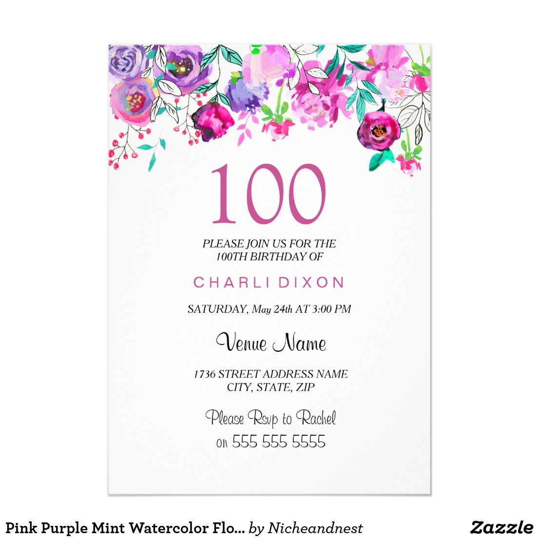 Pink Purple Mint Watercolor Flowers 100th Birthday Card Party