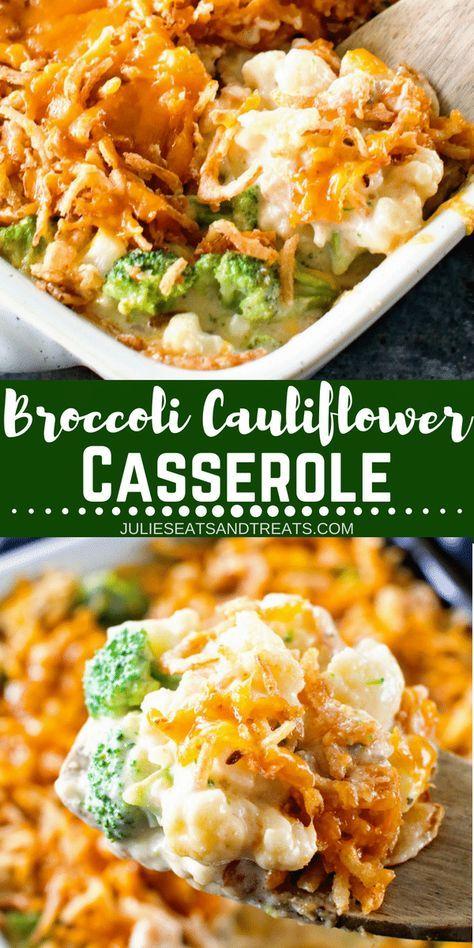 Photo of Cheesy Broccoli Cauliflower Casserole an easy side!