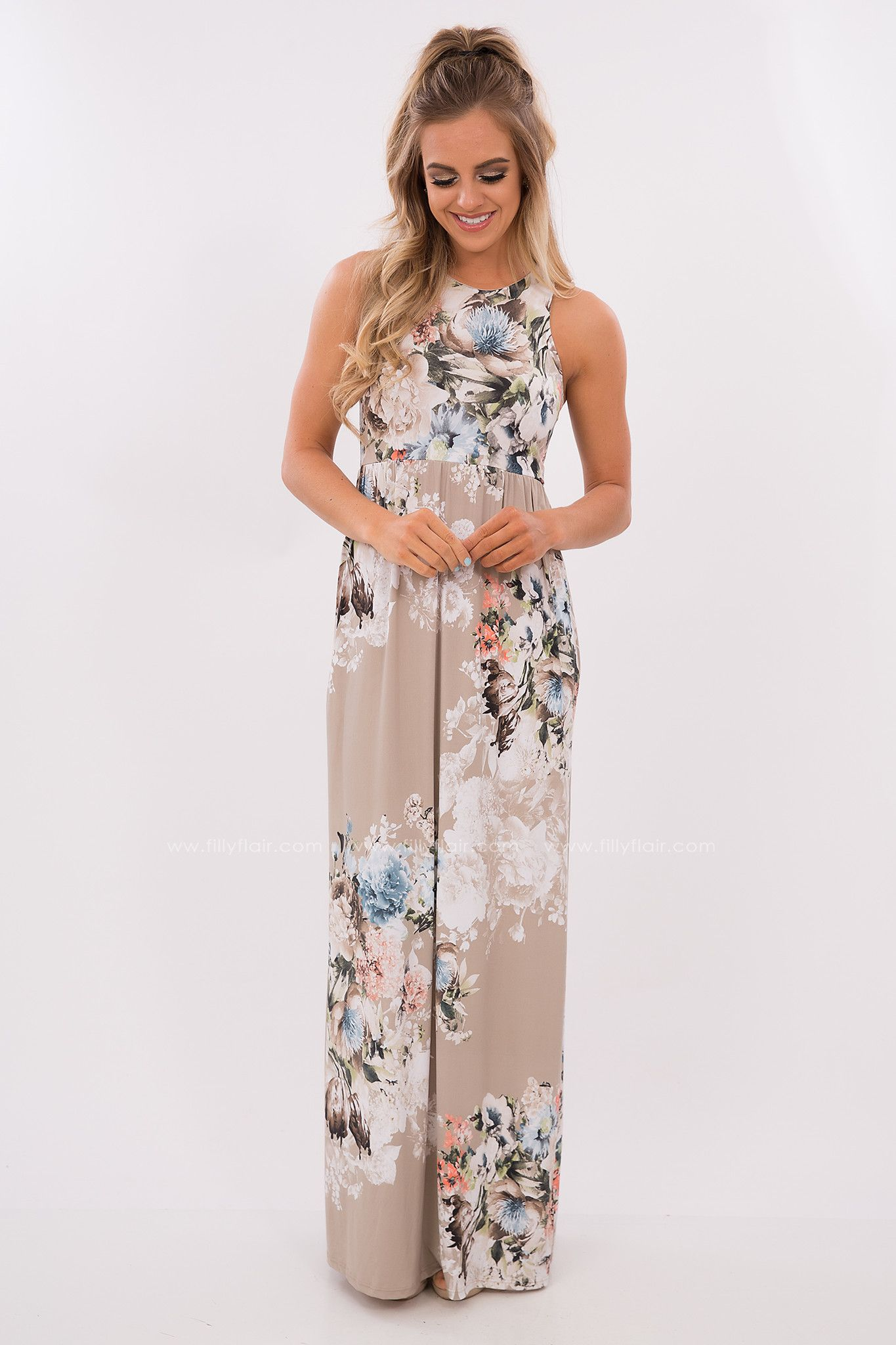 Preorder easy street floral printed maxi dress in taupe s t y l e