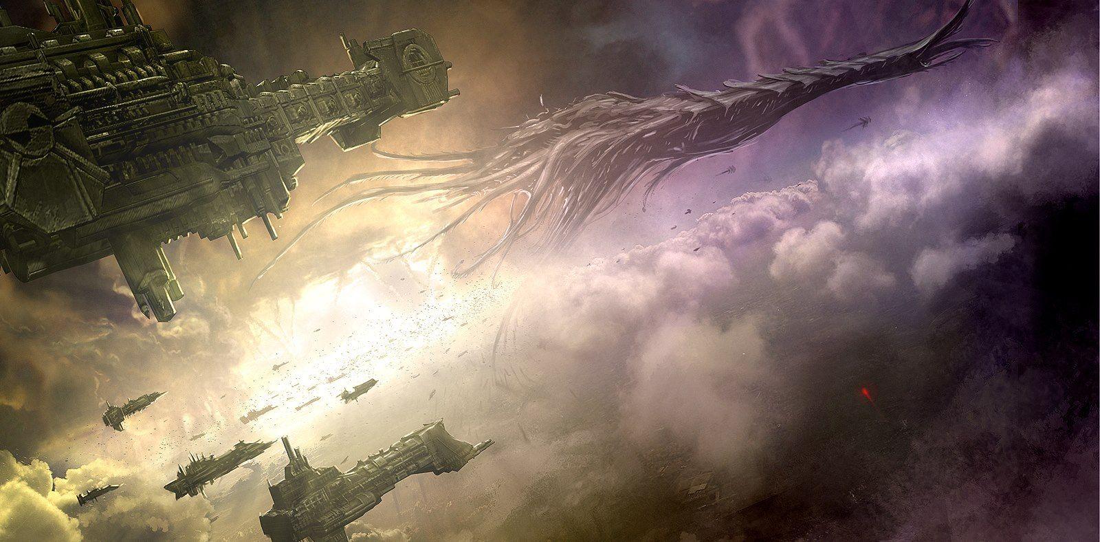 Space Marine Fleet Vs Tyranid Hive Ship |  Warhammer 40k artwork ...