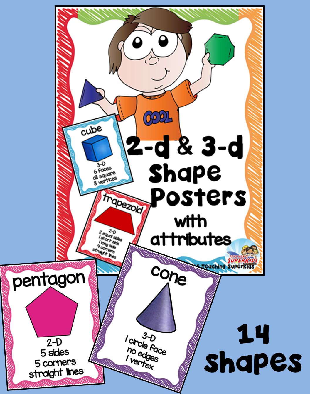 Shape Posters with attributes | Shape posters, 3d shapes and Maths