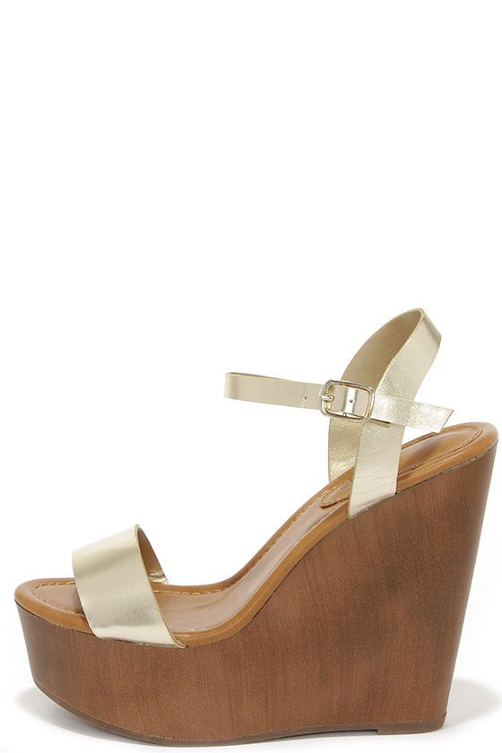 5501177033 High Jinks Champagne Gold Platform Wedge Sandals | wear and hair ...