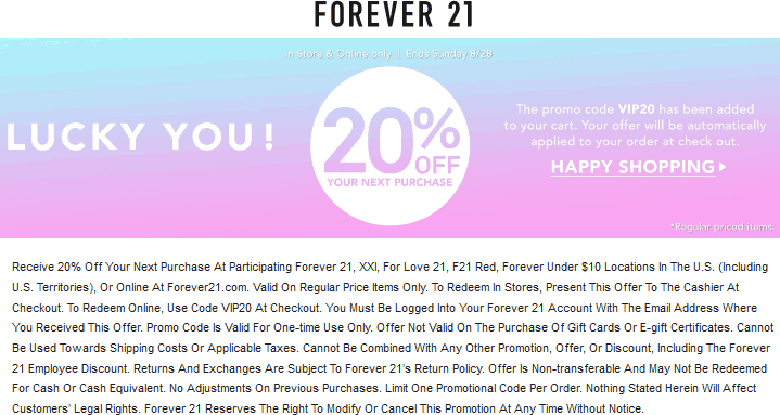 Pinned August 28th 20 Off Today At Forever21 Or Online Via Promo Code Vip20 Shopping Coupons Forever 21 Promo Codes